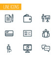 trade icons line style set with group billfold vector image vector image