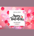 valentines day sale background with roses petals vector image