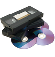 VHS tape and DVD vector image vector image