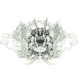 Vintage emblem with animal skull