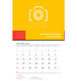 wall calendar planner template for january 2021 vector image vector image