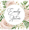 wedding floral watercolor style invite card design vector image vector image