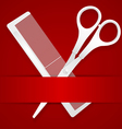 Scissors and comb - advertising barbershop vector image