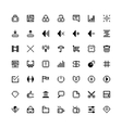 set of black web icons in pixel art vector image