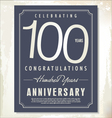 100 years anniversary background vector image