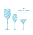 abstract swirls three wine glasses silhouettes vector image vector image