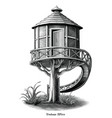 antique engraving treehouse drawing vintage vector image vector image