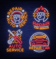 auto service repair collection of logo in neon vector image vector image