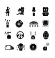 Car Safety Icons Black vector image