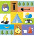 Cartoon Camp Design Nature Outdoor Boho Icon Set vector image vector image