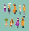 cartoon flat people characters set freezing vector image vector image