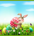 cartoon rabbit holding easter egg in field vector image