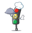 chef with food traffic light character cartoon vector image vector image