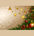christmas background with golden stars and bells vector image