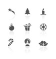 christmas icon set with reflection on a white vector image