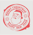 christmas stamp with santa claus face with text vector image vector image