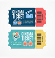 cinema movie tickets set with elements vector image vector image
