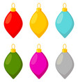 colorful cartoon xmas glass tree decoration set vector image