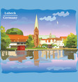 Colorful view on church in lubeck