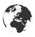 earth globe focused on europe continent vector image vector image