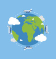 earth globe with plane earth in flat style plane vector image vector image