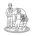 elderly couple with child black and white vector image