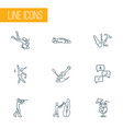 entertainment icons line style set with sport car vector image