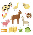 farm animals birds rural symbols set vector image