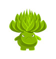 green cute cactus with sad face cartoon emotions vector image vector image