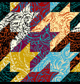 grunge paisley pattern in collage patchwork style vector image vector image