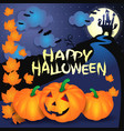 halloween background with pumpkins text and castle vector image vector image