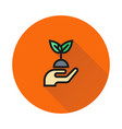 hands holding plant icon on round background vector image