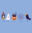 happy halloween witch ghost pumpkin cat raven vector image vector image