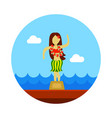 hula dancer statuette icon summer vacation vector image vector image