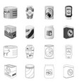 isolated object of can and food icon collection vector image vector image
