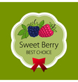 Label with Raspberries and Blackberry vector image