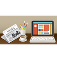 Laptop Newspaper Coffee Cup and Stationery Object vector image vector image