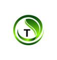 leaf initial t logo design template vector image vector image