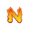 letter n fire flames font lettering tattoo vector image vector image