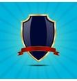 Metallic blue golden shield vector image vector image