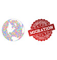 migration composition of mosaic map of global vector image