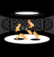 mixed martial art fighters fighting in black cage vector image