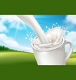 nature landscape behind milk splash vector image vector image