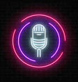neon sign with microphone in round frame vector image vector image