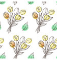 pattern with leaves and tulip flowers vector image vector image