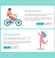 people in park girl ride bike woman skateboarding vector image vector image