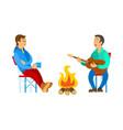 people relaxing outdoor men near bonfire vector image