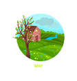 rainy may day with little house meadow river and vector image vector image