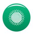 round sunflower icon green vector image