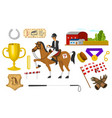 set of horseback riding racing icons for activity vector image